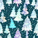 Colorful seamless pattern with Christmas tree. Vector colorful seamless background with Christmas tree. Modern illustration. Can be used for wallpaper, pattern Stock Image