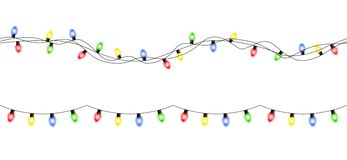 Vector colorful seamless christmas light garlands isolated on wh. Ite background stock illustration
