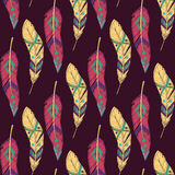 Vector colorful seamless ethnic pattern with decorative feathers. Boho style Royalty Free Stock Photos