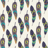 Vector colorful seamless ethnic pattern with decorative feathers Stock Photo