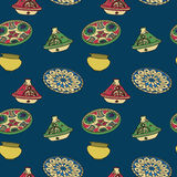 Vector colorful seamless pattern of arabic crockery. Stock Photo