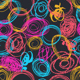 Vector colorful seamless pattern with brush blots and circle. Pink blue yellow red color on black background. Hand. Painted grange texture. Ink geometric Stock Photography