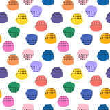Vector colorful seamless pattern with brush blots and cross. Pink blue yellow black color on white background. Hand Royalty Free Stock Photo