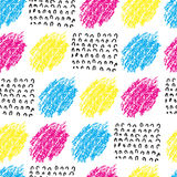 Vector colorful seamless pattern with brush blots and wave. Pink blue yellow black color on white background. Hand Royalty Free Stock Image