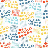 Vector colorful seamless pattern with brush dots, strokes, circles and strokes. Rainbow color on white background. Hand. Painted grange texture. Ink geometric Stock Photo