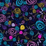 Vector colorful seamless pattern with brush strokes and circles. Pink blue yellow green color on black background. Hand. Painted grange texture Ink round royalty free illustration