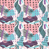 Vector colorful seamless pattern with brush strokes and cross. Pink blue violet black color on white background. Hand Royalty Free Stock Photos