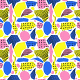 Vector colorful seamless pattern with brush strokes and cross. Pink blue yellow black color on white background. Hand Royalty Free Stock Photography