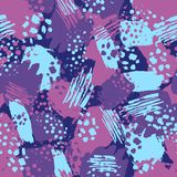 Vector colorful seamless pattern with brush strokes and dots. Pink blue violet color on dark background. Hand painted. Grange texture. Ink geometric elements Stock Photos