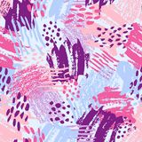 Vector colorful seamless pattern with brush strokes and dots. Pink blue violet color on light background. Hand painted. Grange texture. Ink geometric elements Royalty Free Stock Photo