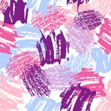Vector colorful seamless pattern with brush strokes and dots. Pink blue violet color on white background. Hand painted. Grange texture. Ink geometric elements Royalty Free Stock Photography