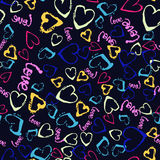 Vector colorful seamless pattern with brush strokes and dots. Pink blue yellow green color on black background. Hand. Painted grange texture. Ink hearts Stock Image