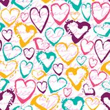 Vector colorful seamless pattern with brush strokes hearts. Summer fantasy . Rainbow color on white background. Hand. Painted grange texture. Ink love elements Stock Photos