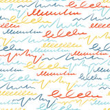 Vector colorful seamless pattern with brush strokes letter. Summer fantasy . Rainbow color on white background. Hand stock illustration