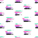 Vector colorful seamless pattern with brush strokes and strokes. Pink violet green black color on white background. Hand Royalty Free Stock Photo