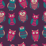 Vector colorful seamless pattern with cute different owls Stock Photography