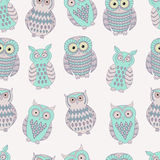 Vector colorful seamless pattern with cute different owls. Can be used for scrapbooking, textile design, packaging, greeting cards, background design Stock Photos