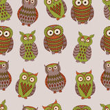 Vector colorful seamless pattern with different owls. Vector colorful seamless pattern with cute different owls. Can be used for scrapbooking, textile design Royalty Free Stock Image