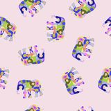 Vector colorful seamless pattern with elephant. Stock vector colorful seamless pattern with elephant Stock Photos