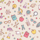 Vector colorful seamless pattern with flat illustrations  Royalty Free Stock Photo