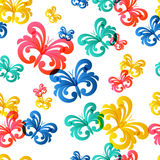 Vector colorful seamless pattern with flying butterflies. Stock Image