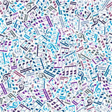 Vector colorful seamless pattern with musical notes and treble c Royalty Free Stock Images