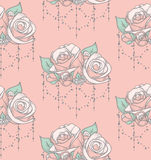 Vector Colorful Seamless Pattern with Roses with Beads Stock Image