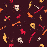 Vector colorful seamless pattern with skull, bones Royalty Free Stock Image