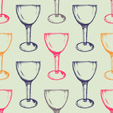 Vector colorful seamless pattern with wine glasses. Hand drawn style Stock Image