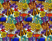 Vector colorful seamless sea pattern with tropical fishes Stock Photography