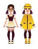 Vector colorful seasonal illustration of kids clothes. Two little girls wearing autumn yellow raincoat, rubber boats and school uniform standing isolated from vector illustration