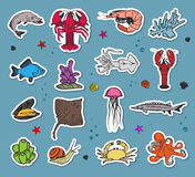 Vector colorful seaworld icons Royalty Free Stock Images