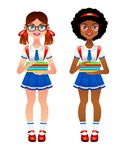 Vector colorful set of different nationalities kids going to school with books at hands. Illustration of smiling girl wearing school uniform, glasses and royalty free illustration