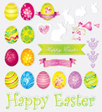 Vector colorful set of easter elements Stock Images