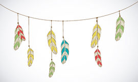 Vector colorful set of ethnic decorative feathers hanging on thr Royalty Free Stock Photos
