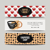 Vector colorful set of modern banners with coffee backgrounds Royalty Free Stock Image