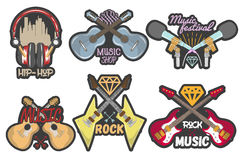 Vector colorful set of music theme emblems. Isolated badges, logos, banners or stickers with guitars, microphones and Stock Photos