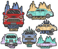 Vector colorful set of retro car club logos, banners, badges, labels or emblems and templates. Stock Photo