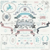 Vector Colorful Sketched Rustic Floral Design Elements Stock Image