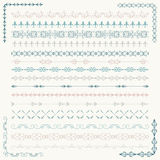 Vector Colorful Sketched Seamless Borders and Corners Stock Photography
