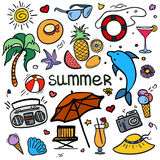 Vector colorful sketchy line art Doodle cartoon set of objects and symbols for summer holidays Stock Photo