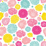 Vector colorful spring flowers seamless repeat pattern bacgkround design. Great for springtime greeting cards Stock Photo