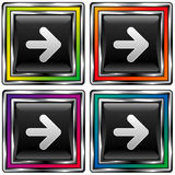 Vector of colorful square arrow direction button. Set of colorful, square arrow or direction buttons for web or desktop applications Stock Photos