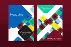 Vector colorful square business annual report cover. Brochure template Royalty Free Stock Photos