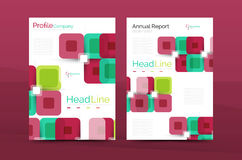 Vector colorful square business annual report cover. Brochure template Royalty Free Stock Image