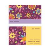 Vector colorful stars horizontal stripe frame. Pattern business cards set graphic design Stock Photo