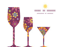 Vector colorful stars three wine glasses. Silhouettes pattern frame graphic design Royalty Free Stock Images