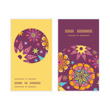 Vector colorful stars vertical round frame pattern. Business cards set graphic design Royalty Free Stock Photography