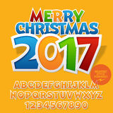 Vector colorful sticker Merry Christmas 2017 greeting card Stock Photo