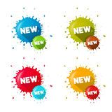 Vector Colorful Stickers Stains With New Title Set Royalty Free Stock Images